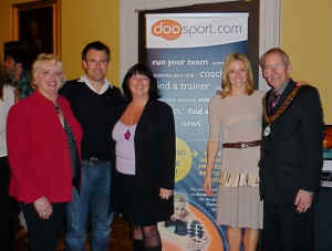 Vivien Simpson, Kenny Logan, Loraine, Gabby Logan and the Chairman of Bath & North East Somerset Cllr. David Bellotti