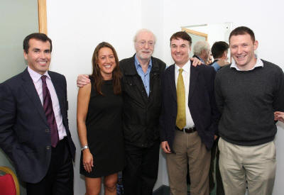 Sir Michael Caine & Rensburg Sheppards Team -Marc Cuddihy, Charlotte Selby-Rickards, Jim Trafford & Tim