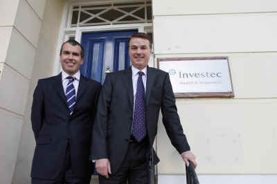 Marc Cuddihy & Jim Trafford outside Investec offices