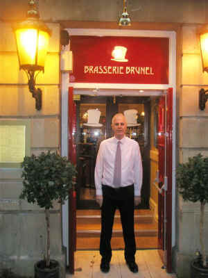 General Manager Mike MacDermid outside restyled restaurant Brasserie Brunel'